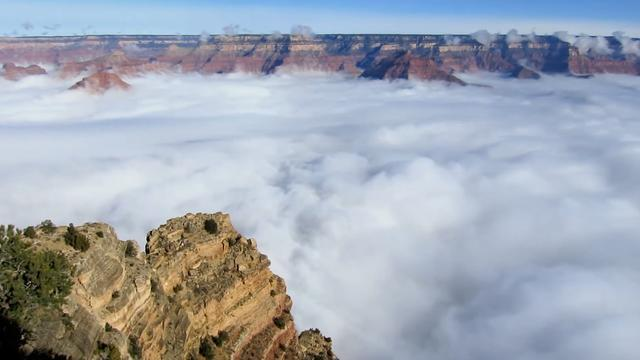 Grand Canyon Fills With Ocean Of Clouds On Rare Occasions