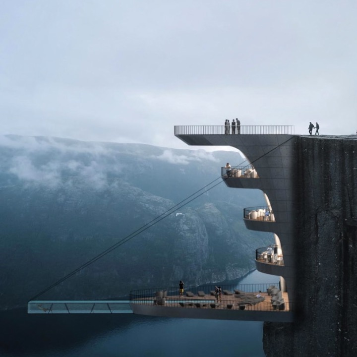 Would you stay in this hotel room suspended over a cliff?