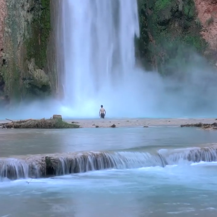 There's a secret waterfall at the edge of America's Grand Canyon