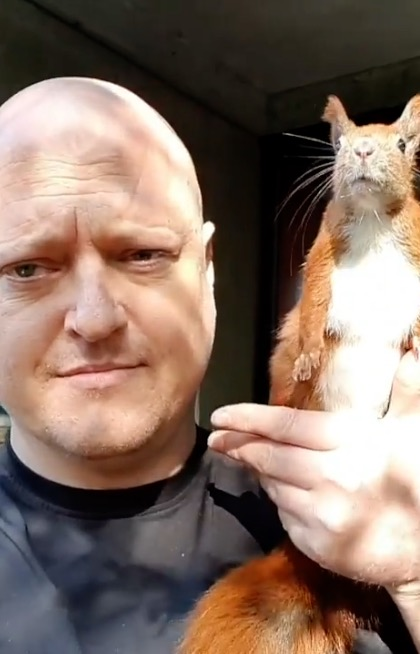 Squirrel becomes best friends with human after falling from roof